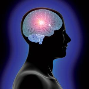Head and glowing brain